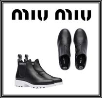 MiuMiu Round Toe Casual Style Plain Leather Chelsea Boots