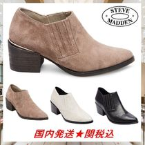 Steve Madden Plain Leather Chunky Heels Ankle & Booties Boots