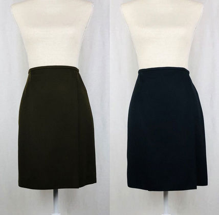Pencil Skirts Wool Plain Medium Elegant Style Midi Skirts
