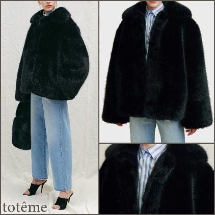 Short Faux Fur Plain Elegant Style Coats