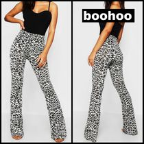boohoo Leopard Patterns Casual Style Long Wide Leg Pants