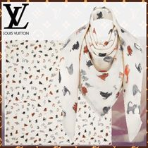 Louis Vuitton MONOGRAM Silk Blended Fabrics Other Animal Patterns Fringes