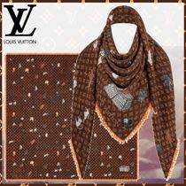 Louis Vuitton MONOGRAM Monogram Wool Blended Fabrics Bi-color Fringes Elegant Style