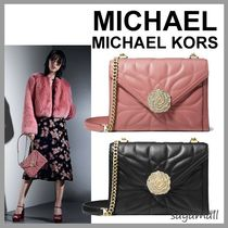 Michael Kors WHITNEY 2WAY Chain Plain Leather With Jewels Elegant Style