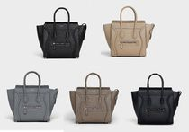 CELINE Luggage Calfskin 2WAY Plain Handmade Handbags
