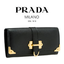 PRADA Unisex Saffiano Street Style Plain With Jewels Long Wallets