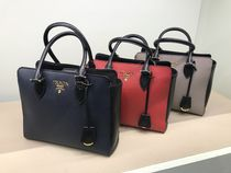PRADA SAFFIANO LUX Saffiano 2WAY Bi-color Plain Handmade Handbags