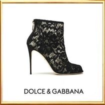 Dolce & Gabbana Flower Patterns Open Toe Street Style Pin Heels