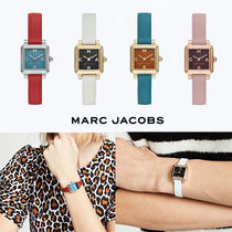 MARC JACOBS Leather Square Quartz Watches Elegant Style Analog Watches