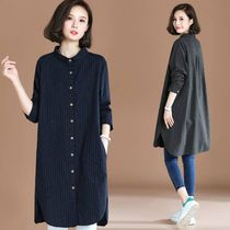 Stripes Casual Style Linen V-Neck Long Sleeves Long