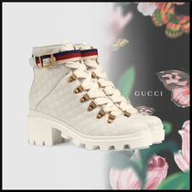 GUCCI Stripes Plain Toe Casual Style Blended Fabrics Leather