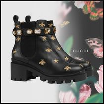 GUCCI Star Platform Round Toe Casual Style Blended Fabrics Studded