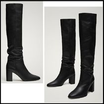 Massimo Dutti Plain Leather Block Heels Elegant Style Over-the-Knee Boots