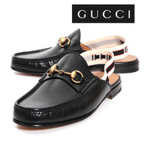 GUCCI Stripes Street Style Leather Sandals