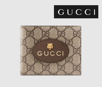 GUCCI GG Supreme Street Style Other Animal Patterns Leather Folding Wallets