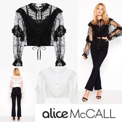 Short Plain Party Style Lace Puff Sleeves Cropped