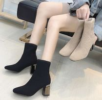 Elegant Style Chunky Heels Ankle & Booties Boots