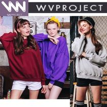 WV PROJECT Casual Style Unisex Studded U-Neck Long Sleeves Cotton