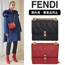 FENDI KAN I Monogram Calfskin 2WAY Chain Elegant Style Shoulder Bags