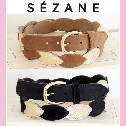 Casual Style Plain Leather Belts