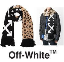 Off-White Leopard Patterns Unisex Street Style Scarves