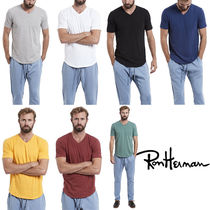 Ron Herman Pullovers Unisex V-Neck Plain Cotton Short Sleeves Handmade