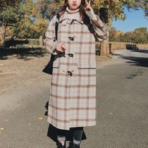 Tartan Other Check Patterns Casual Style Wool Long