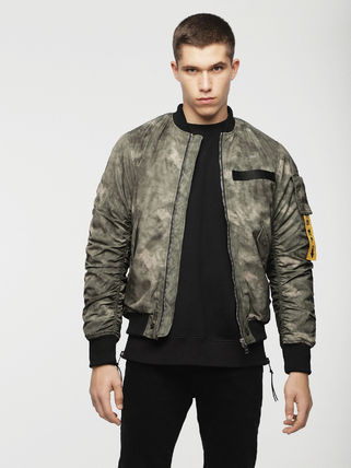 DIESEL Short Camouflage Street Style Plain MA-1 Bomber Jackets
