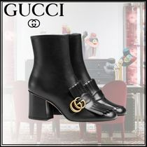 GUCCI GG Marmont Studded Plain Leather Block Heels Elegant Style