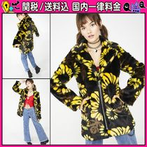 DOLLS KILL Flower Patterns Casual Style Faux Fur Medium Oversized Coats