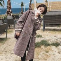 Other Check Patterns Casual Style Long Peacoats