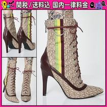 DOLLS KILL Monoglam Lace-up Casual Style Pin Heels Lace-up Boots