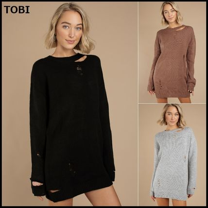Casual Style Long Sleeves Oversized Sweaters