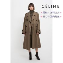 CELINE Casual Style Plain Long Trench Coats