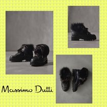Massimo Dutti Mountain Boots Round Toe Casual Style Plain Leather