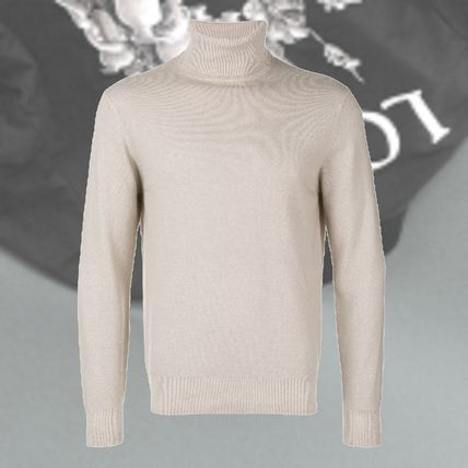 Cashmere Fine Gauge Street Style Long Sleeves Plain