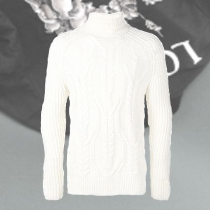 Cable Knit Wool Street Style Long Sleeves Plain