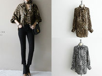 Leopard Patterns Casual Style Long Sleeves Medium Oversized