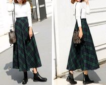 Flared Skirts Casual Style Blended Fabrics Long Maxi Skirts