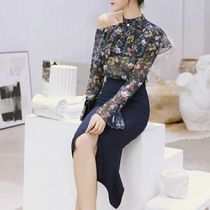 Flower Patterns Chiffon Long Sleeves Party Style