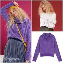 ELF SACK Cable Knit Casual Style Street Style Plain Medium High-Neck