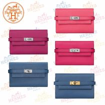 HERMES Kelly Blended Fabrics Plain Folding Wallets
