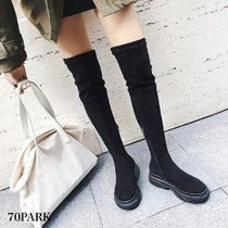 Plain Toe Casual Style Street Style Over-the-Knee Boots