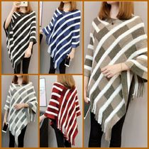 Cable Knit Other Check Patterns Tassel U-Neck Plain Medium