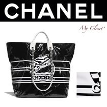 CHANEL ICON Stripes Street Style A4 2WAY Chain PVC Clothing Totes