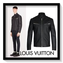 Louis Vuitton Short Plain Leather Biker Jackets