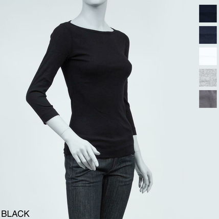 Boat Neck Cropped Cotton Medium T-Shirts