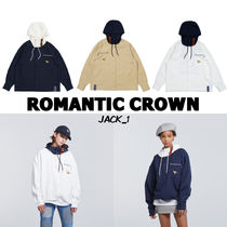 ROMANTIC CROWN Casual Style Unisex Street Style Oversized Varsity Jackets