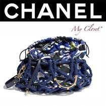 CHANEL ICON Casual Style Calfskin Blended Fabrics Street Style Bi-color