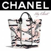 CHANEL ICON Casual Style Blended Fabrics Street Style A4 2WAY Bi-color